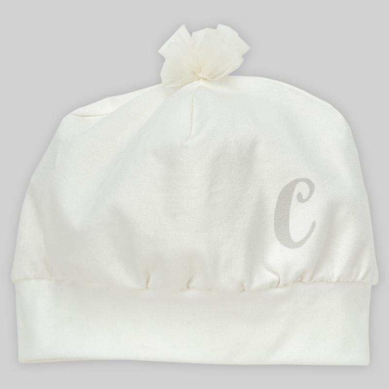 Памучна шапка за бебе момиче с пискюл от тюл  884
