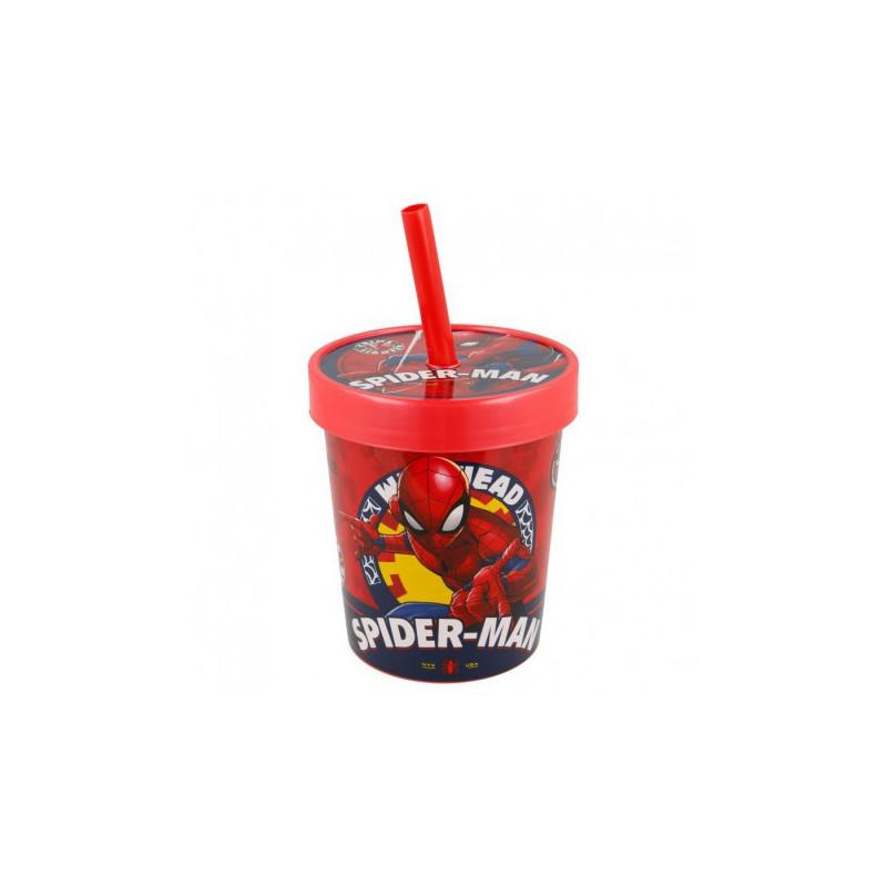 "Чаша с капак и сламка ""Човека-паяк""  9061"