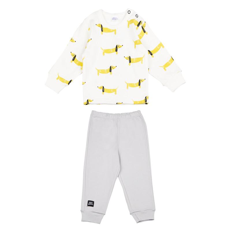 Памучна пижама с дълъг ръкав и весел принт за бебе - унисекс  94485