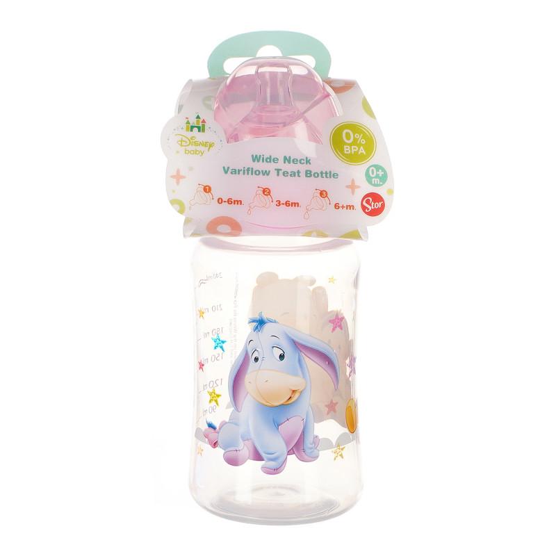 Полипропиленово шише за хранене Winnie ready to play, с биберон 2 капки, 0+ месеца, 240 мл, цвят: розов  95292