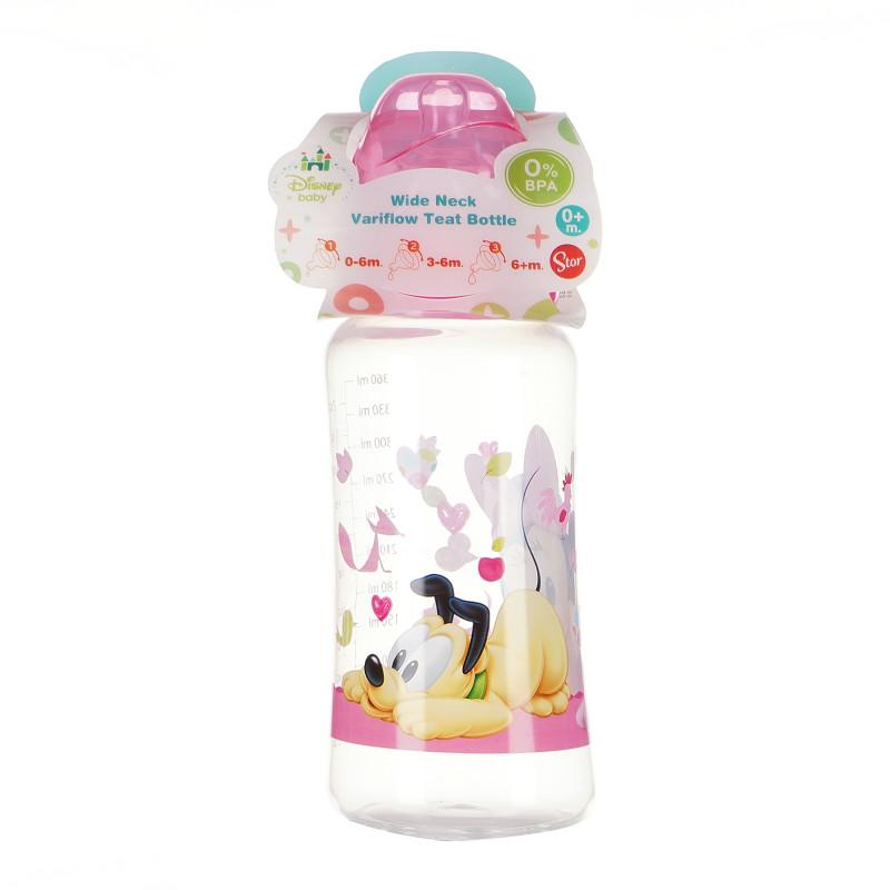 Полипропиленово шише за хранене Minnie Mouse, с биберон 3 капки, 0+ месеца, 360 мл, цвят: розов  95330