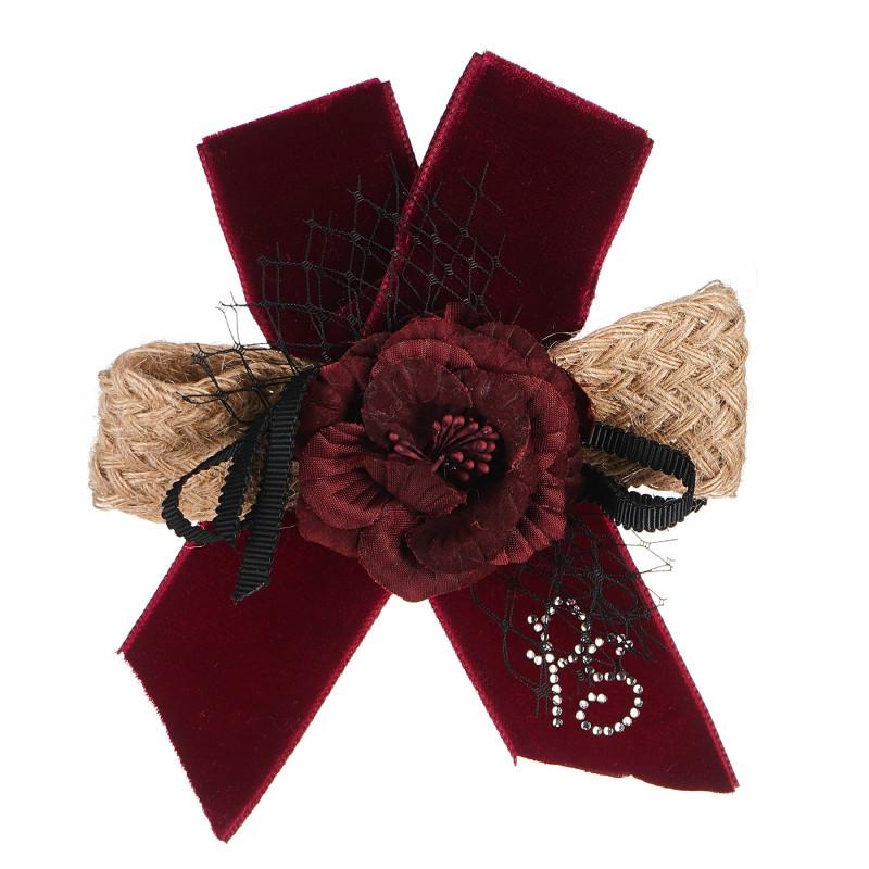 Панделка за коса, цвят: бежово, с цвете  96787