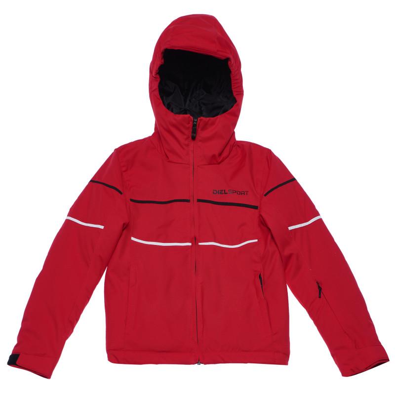 Ски яке с черни и бели ленти за момче червено  96974