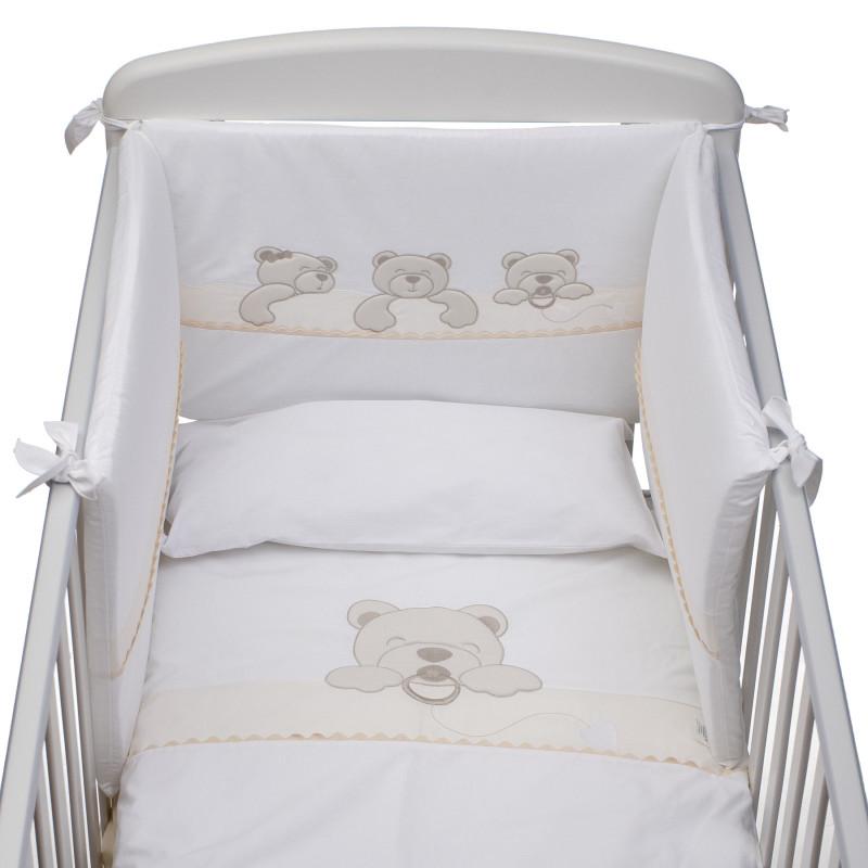 Спален комплект 4 части  Спящи мечета (кафяви) от антибактериални и антиалергични материали  97560