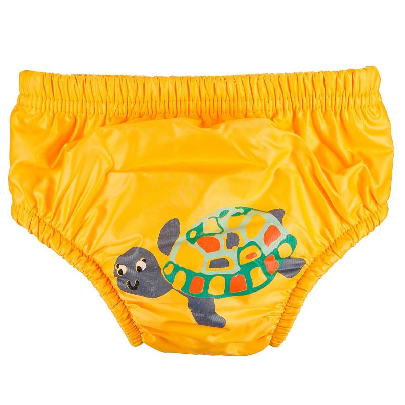 Бански за бебе момче в жълт цвят с костенурка - размер М - от 12 до 14 кг.  97714