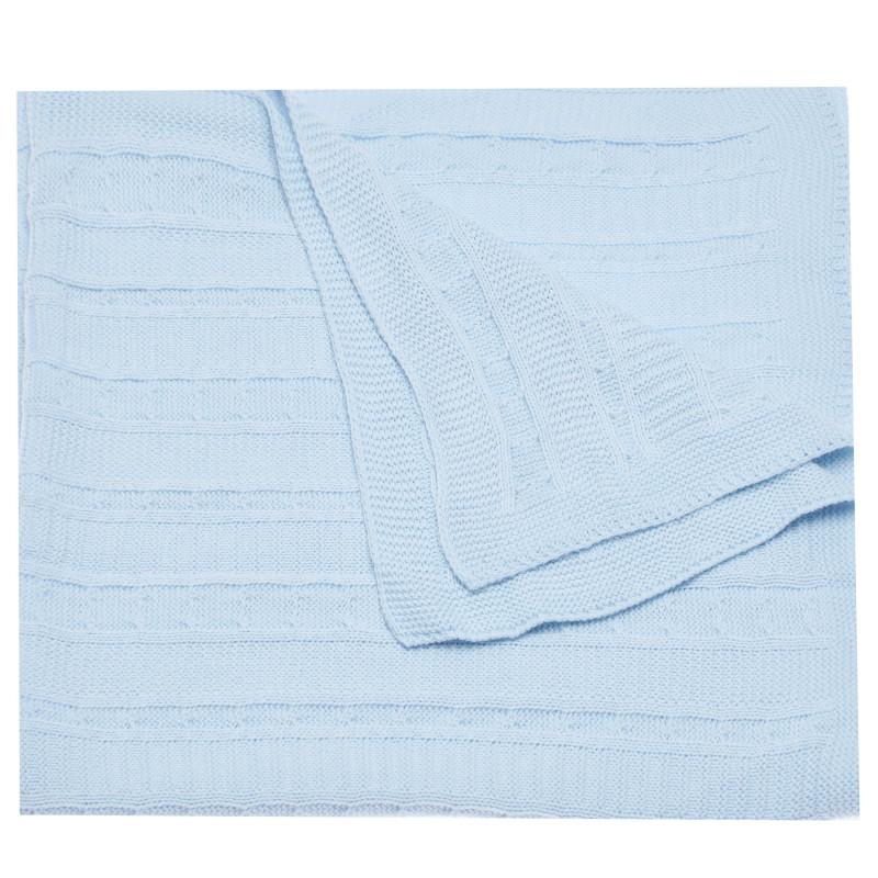 Плетено одеяло за бебе, син цвят  97737