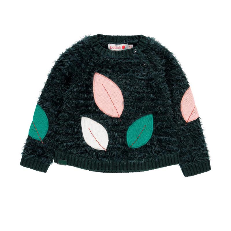 Пуловер за момиче с апликация на листа  98905
