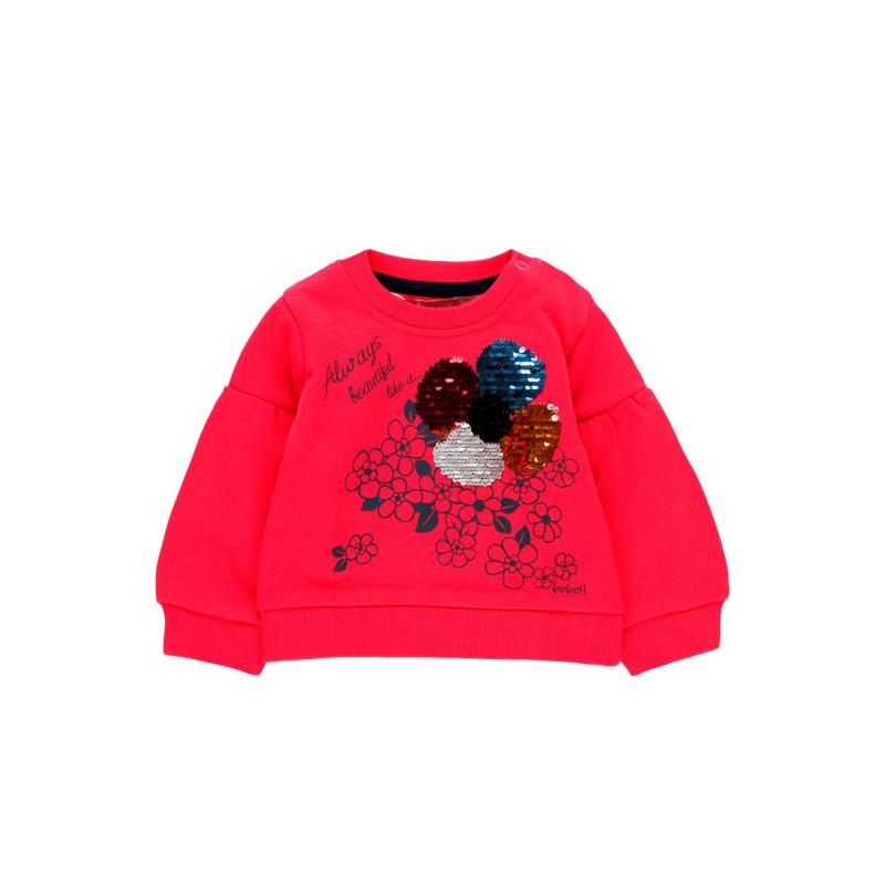 Суитшърт с цвете от пайети за момиче  98943
