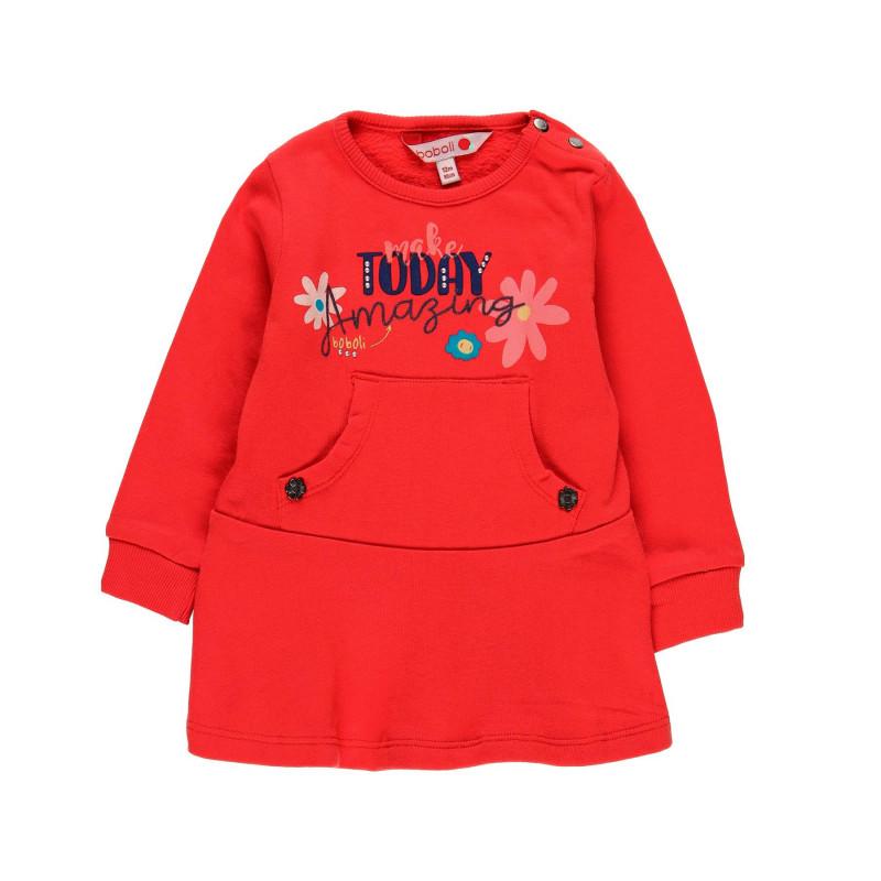 Памучна рокля с дълъг ръкав и декоративен джоб за момиче  99031