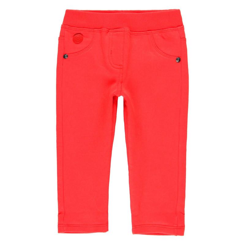 Памучен панталон за момиче с ластик в талията и два функционални задни джоба  99063