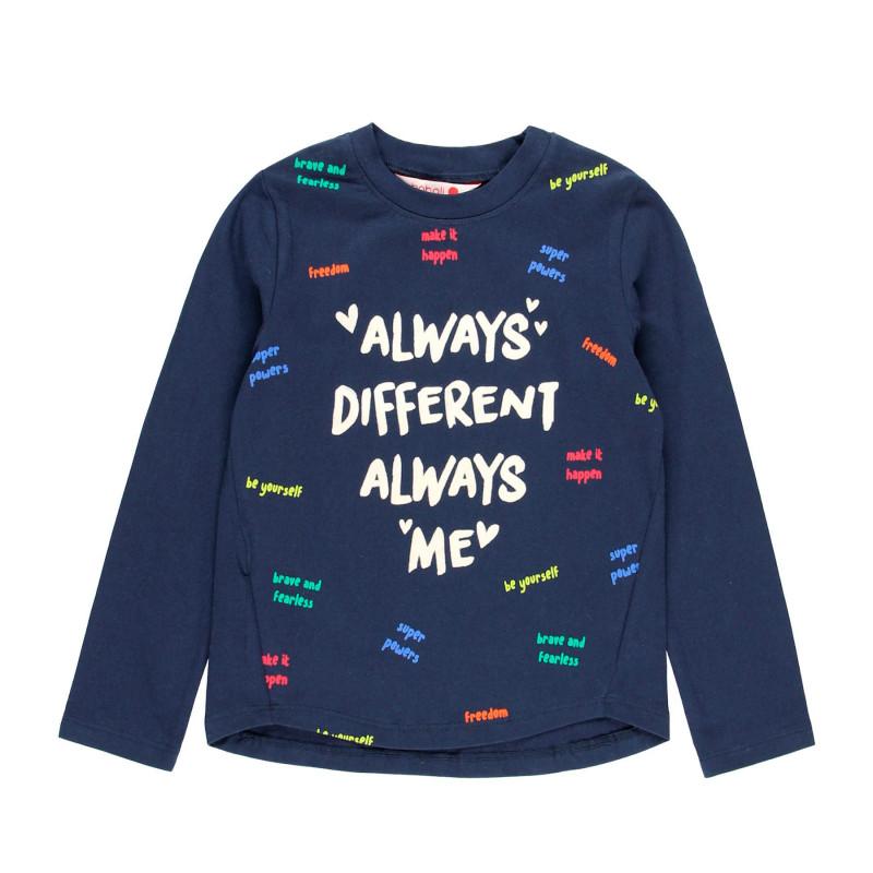Тъмносиня памучна блуза с дълъг ръкав за момиче с графичен принт  99152