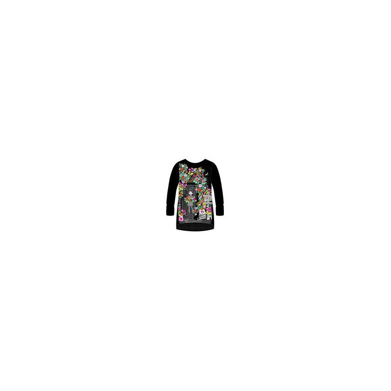 Памучна рокля с дълъг ръкав на флорален принт за момиче  99193