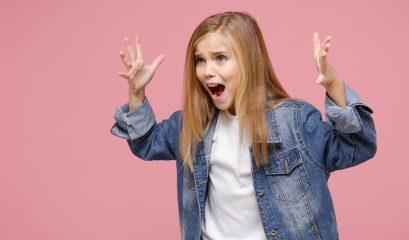 Worried,little,kid,girl,12 13,years,old,in,denim,jacket